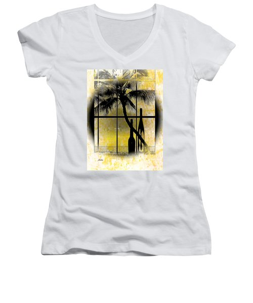 Aloha,from The Island Women's V-Neck T-Shirt (Junior Cut) by Athala Carole Bruckner