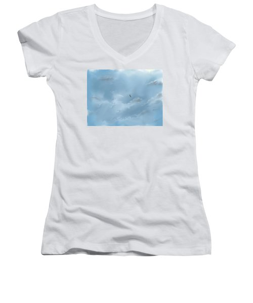 Women's V-Neck T-Shirt featuring the digital art Alone by Darren Cannell