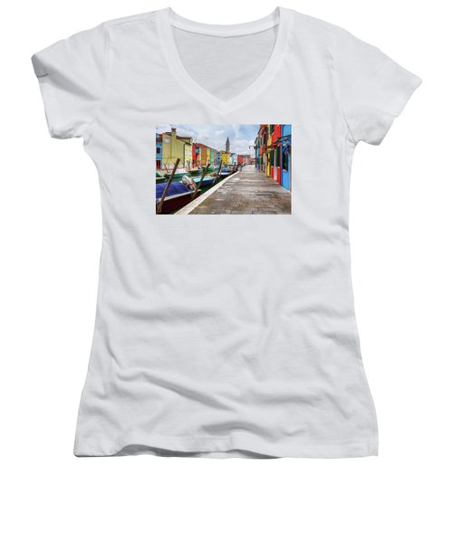 Along The Canal In Burano Island Women's V-Neck
