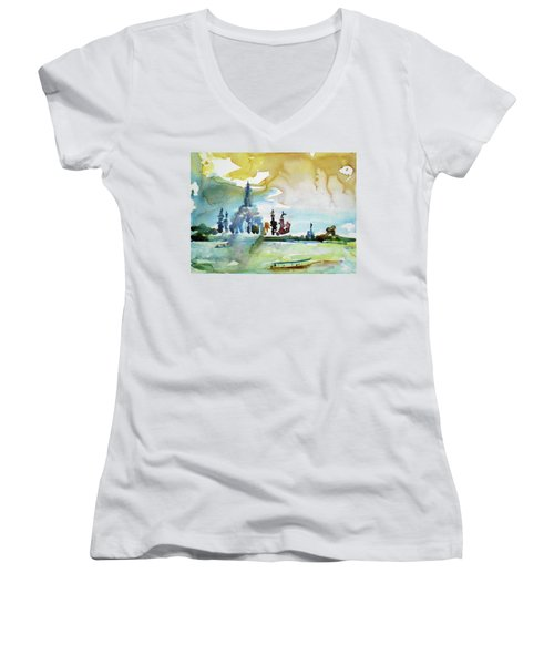 Along The Chao Phaya River Women's V-Neck T-Shirt