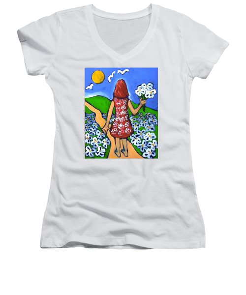 Women's V-Neck T-Shirt (Junior Cut) featuring the painting Along The New Path by Winsome Gunning