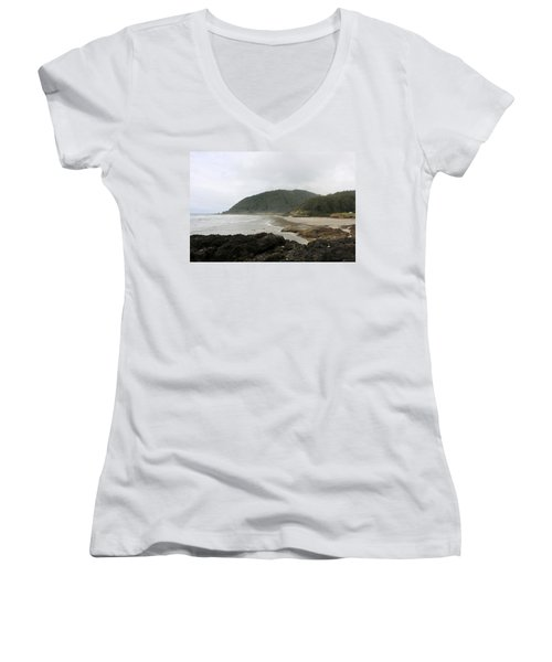 Along The Oregon Coast - 3 Women's V-Neck (Athletic Fit)