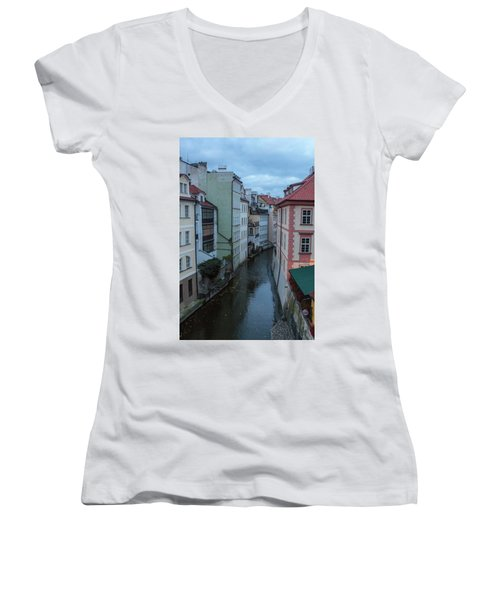 Women's V-Neck featuring the photograph Along The Prague Canals by Matthew Wolf