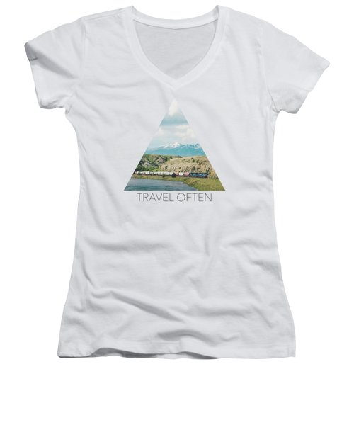 Along The Yellowstone Women's V-Neck (Athletic Fit)