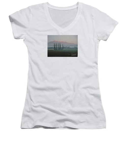Women's V-Neck T-Shirt (Junior Cut) featuring the photograph Alpenglow  by Jeanette French