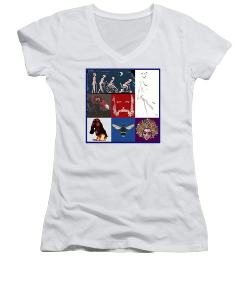 Alter Ego Montage Women's V-Neck T-Shirt (Junior Cut) by R  Allen Swezey