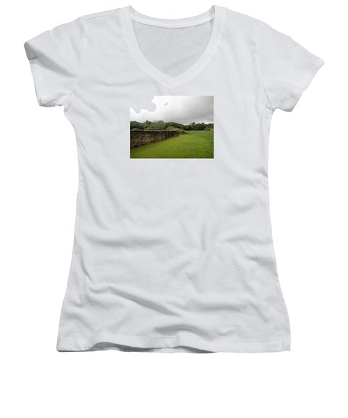 Women's V-Neck T-Shirt (Junior Cut) featuring the photograph Altun Ha #1 by Lois Lepisto