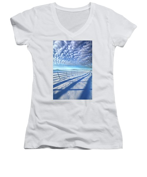 Women's V-Neck T-Shirt (Junior Cut) featuring the photograph Always Whiter On The Other Side Of The Fence by Phil Koch