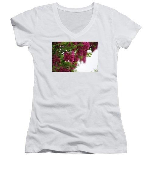 Amaranth Pink Flowering Locust Tree In Spring Rain Women's V-Neck (Athletic Fit)
