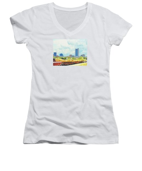 Amarillo Texas In The Spring Women's V-Neck T-Shirt (Junior Cut) by Janette Boyd