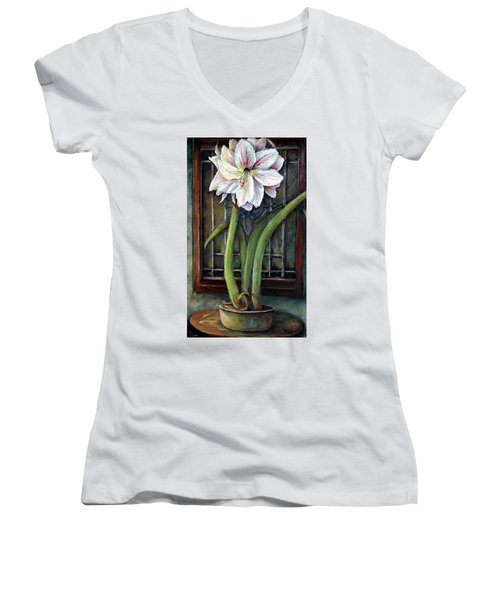 Women's V-Neck T-Shirt (Junior Cut) featuring the painting Amaryllis In The Window by Bernadette Krupa