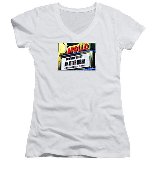 Amateur Night Women's V-Neck T-Shirt (Junior Cut) by Ed Weidman