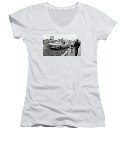 Ambulance Accident Women's V-Neck T-Shirt (Junior Cut) by Paul Seymour