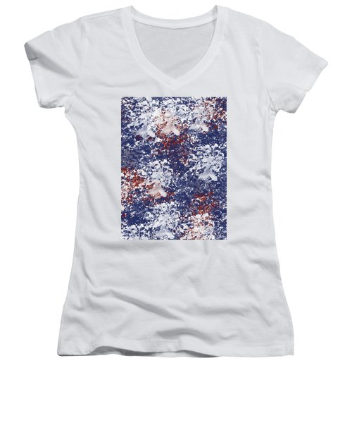America Watercolor Women's V-Neck (Athletic Fit)
