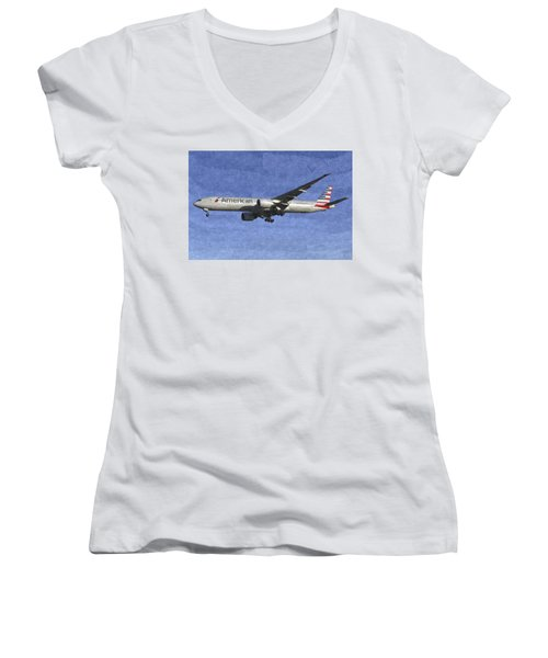 American Airlines Boeing 777 Aircraft Art Women's V-Neck T-Shirt