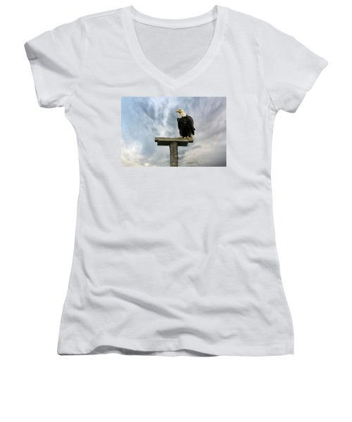 American Bald Eagle Perched On A Pole Women's V-Neck (Athletic Fit)