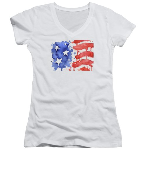 American Flag Watercolor Painting Women's V-Neck (Athletic Fit)