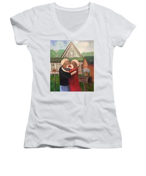 American Gothic The Monkey Lisa And The Holler Women's V-Neck T-Shirt (Junior Cut)