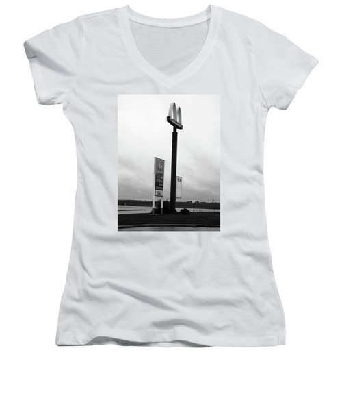 Women's V-Neck T-Shirt (Junior Cut) featuring the photograph American Interstate - Illinois I-55 by Frank Romeo
