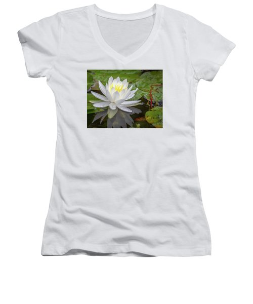 American White Water Lily Women's V-Neck