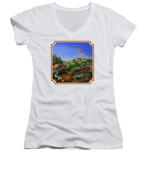 Americana Decor - Springtime On The Farm Country Life Landscape - Square Format Women's V-Neck T-Shirt (Junior Cut) by Walt Curlee