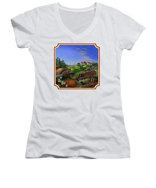 Americana Decor - Springtime On The Farm Country Life Landscape - Square Format Women's V-Neck T-Shirt