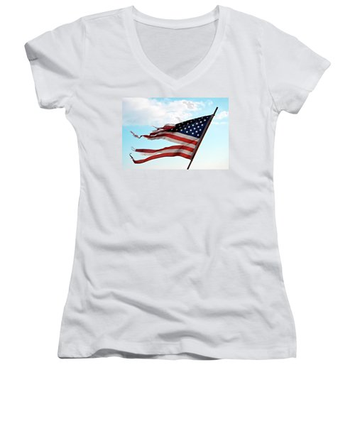 America's Liberty Prevails Women's V-Neck T-Shirt