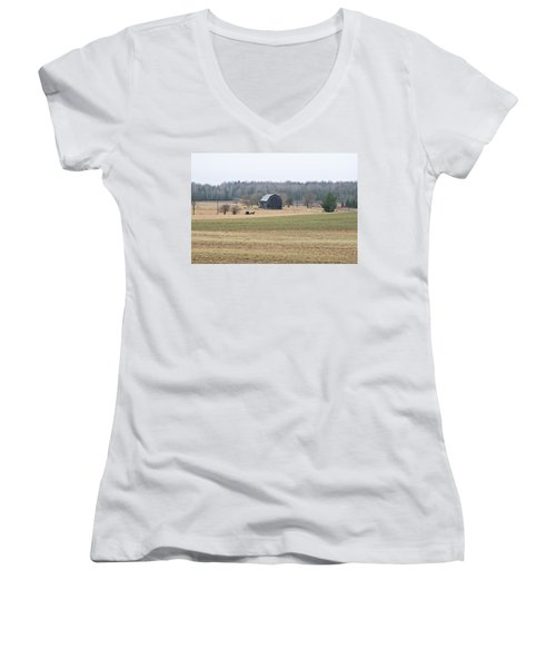 Amish Country 0754 Women's V-Neck T-Shirt (Junior Cut) by Michael Peychich