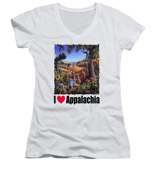 Amish Country - Coon Gap Holler Country Farm Landscape Women's V-Neck T-Shirt (Junior Cut) by Walt Curlee