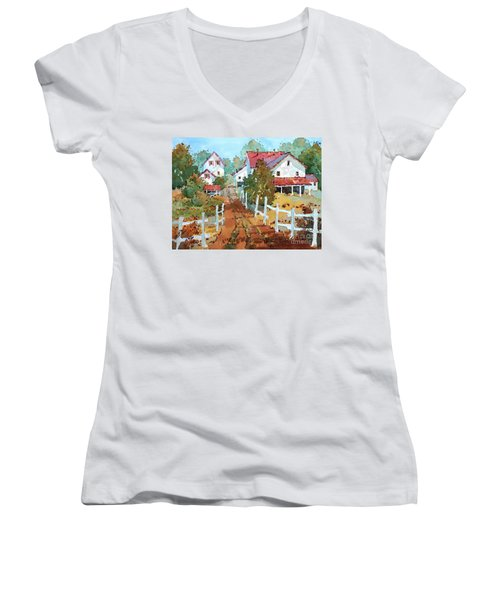 Amish Farm Women's V-Neck (Athletic Fit)
