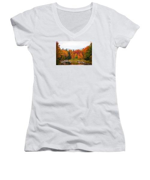 Women's V-Neck T-Shirt (Junior Cut) featuring the photograph Ammonoosuc River by Robert Clifford