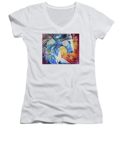 Among The Wildflowers Women's V-Neck (Athletic Fit)