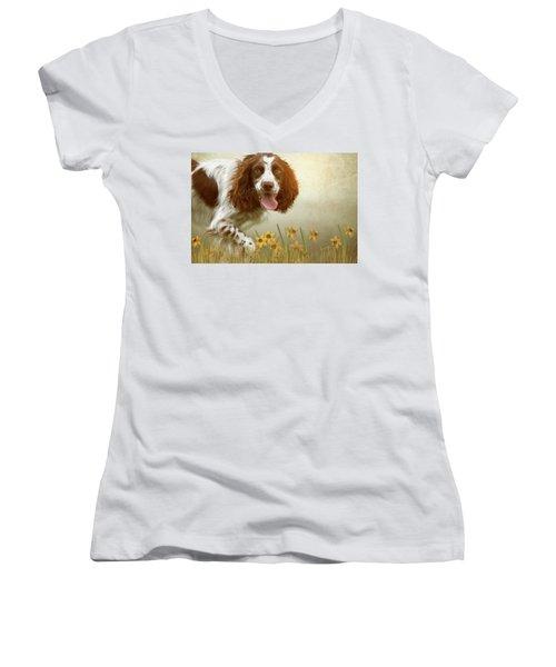 Amongst The Flowers Women's V-Neck T-Shirt