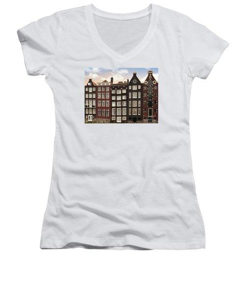 Amsterdam Architectre At Twilight Women's V-Neck (Athletic Fit)