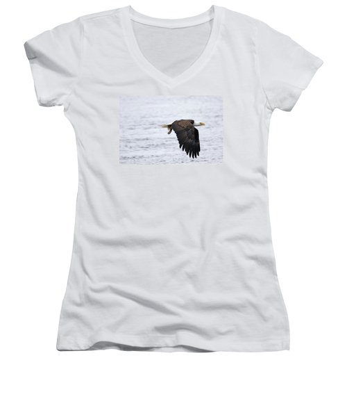 An Eagles Catch 11 Women's V-Neck T-Shirt (Junior Cut) by Brook Burling