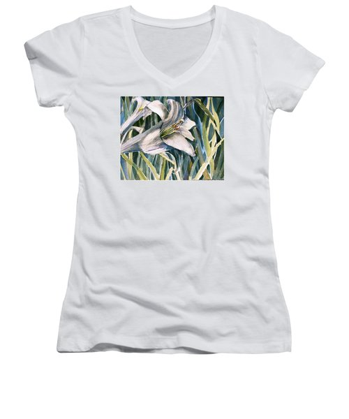 Women's V-Neck T-Shirt (Junior Cut) featuring the painting An Easter Lily by Mindy Newman