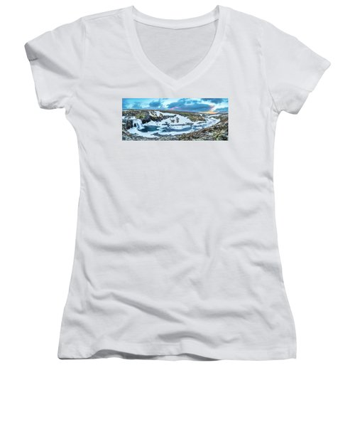 An Icy Waterfall Panorama During Sunrise In Iceland Women's V-Neck T-Shirt (Junior Cut) by Joe Belanger