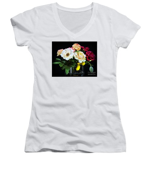 Women's V-Neck T-Shirt (Junior Cut) featuring the photograph An Informal Study by Tom Cameron