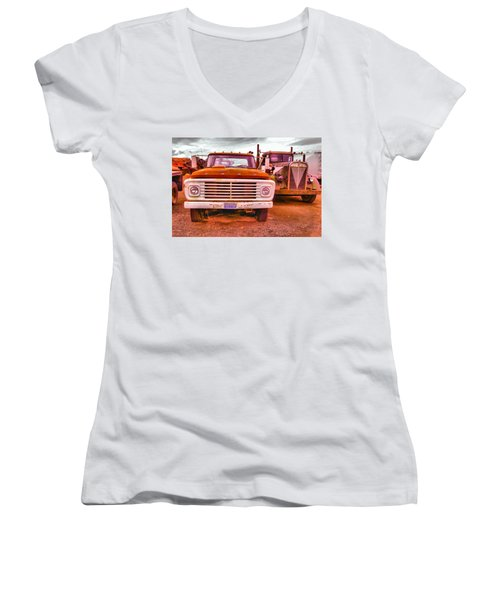 Women's V-Neck T-Shirt (Junior Cut) featuring the photograph An Old Ford And Kenworth by Jeff Swan