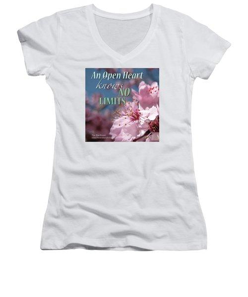 An Open Heart Knows No Limits Women's V-Neck T-Shirt (Junior Cut) by Mark David Gerson