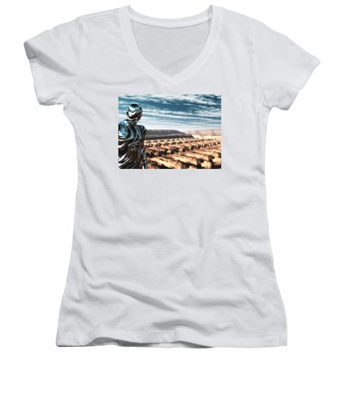 Women's V-Neck T-Shirt (Junior Cut) featuring the digital art An Untitled Future by John Alexander