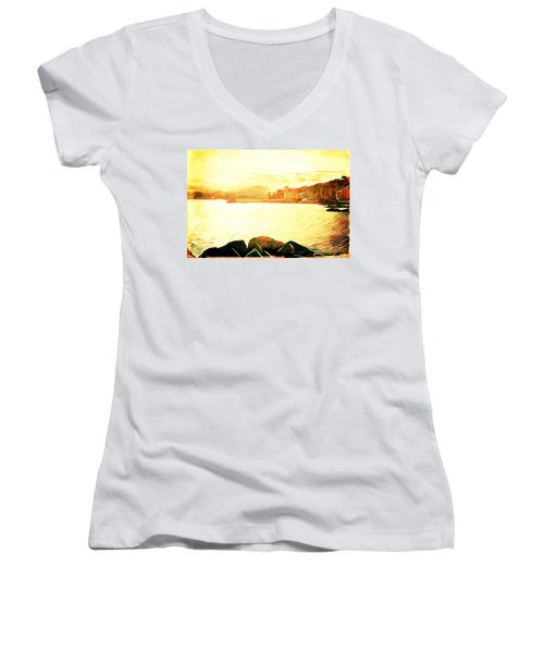 Women's V-Neck T-Shirt (Junior Cut) featuring the digital art Ancient Marina by Andrea Barbieri