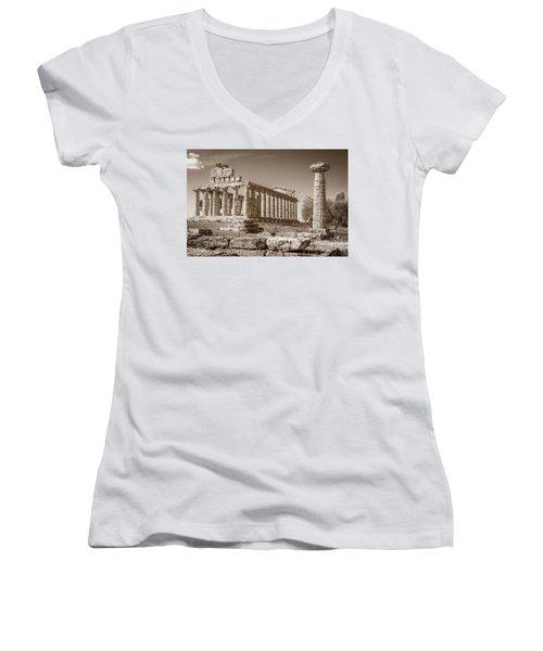 Ancient Paestum Architecture Women's V-Neck (Athletic Fit)