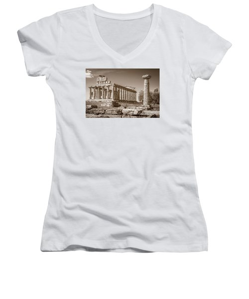 Ancient Paestum Architecture Women's V-Neck T-Shirt