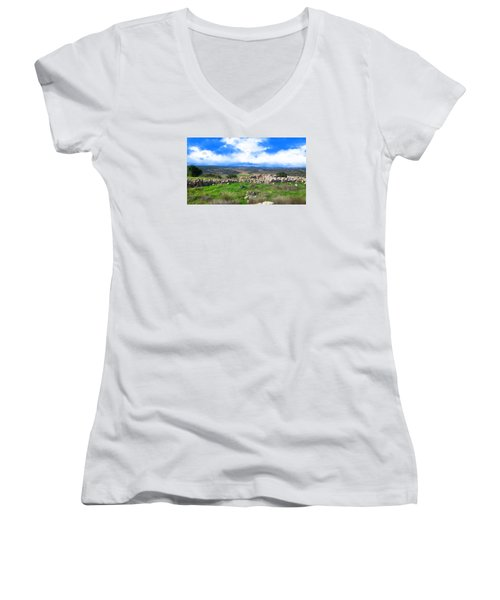 Ancient Ruins In Israel Women's V-Neck T-Shirt