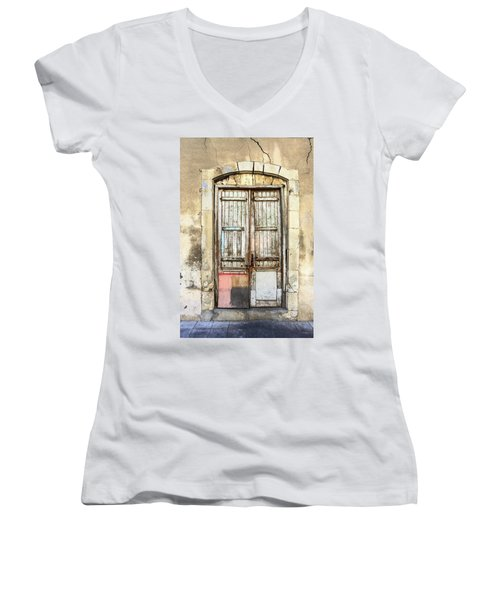Ancient Wooden Door In Old Town. Limassol. Cyprus Women's V-Neck (Athletic Fit)