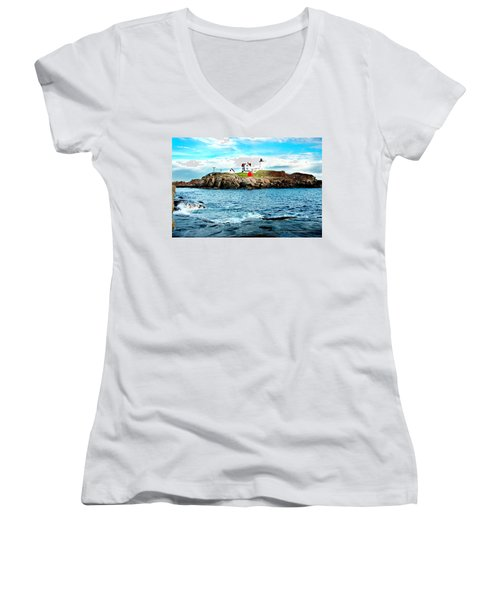And Yet Another Women's V-Neck T-Shirt (Junior Cut) by Greg Fortier
