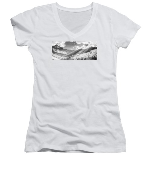 Women's V-Neck T-Shirt (Junior Cut) featuring the photograph And You Feel The Scene by Jon Glaser