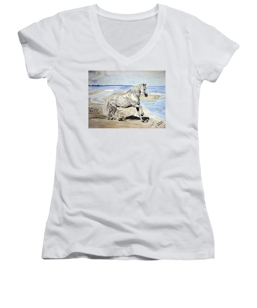 Women's V-Neck T-Shirt (Junior Cut) featuring the drawing Andalusian Horse by Melita Safran
