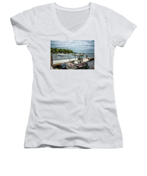 Andre Women's V-Neck T-Shirt (Junior Cut) by Daniel Hebard